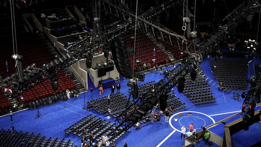 Preparations are underway on the convention floor on Saturday, July 23, before the 2016 Democratic National Convention in Philadelphia.
