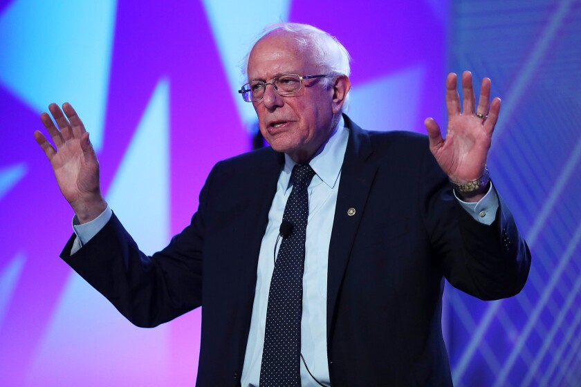 Sen. Bernie Sanders speaks during a presidential candidates forum