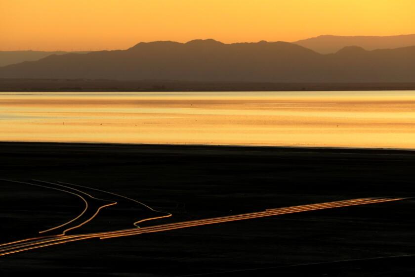 Sunset illuminates the Salton Sea