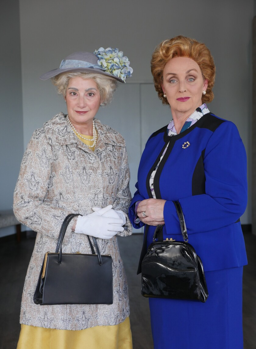 """Sandy Campbell (left) and Linda Libby star in Moxie Theatre's """"Handbagged."""""""