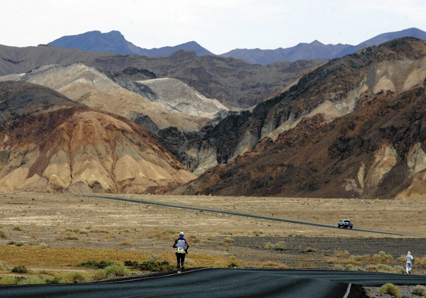 A runner competes in the 2007 Badwater Ultramarathon in Death Valley, where temperatures in July can soar to above 120 degrees.