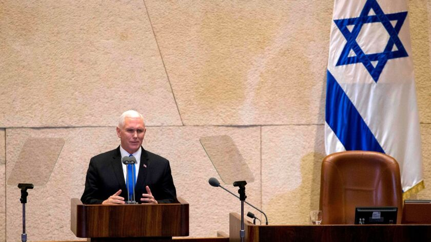 Vice President Mike Pence addresses Israeli lawmakers in Jerusalem on Tuesday.