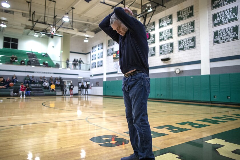 BURBANK, CA, TUESDAY, FEBRUARY 27, 2019 - Roybal High School basketball coach Danny O'Fallon shows h