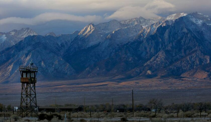 A reconstructed guard tower looms over the site of the former Manzanar War Relocation Center near the Owens Valley town of Independence, Calif.