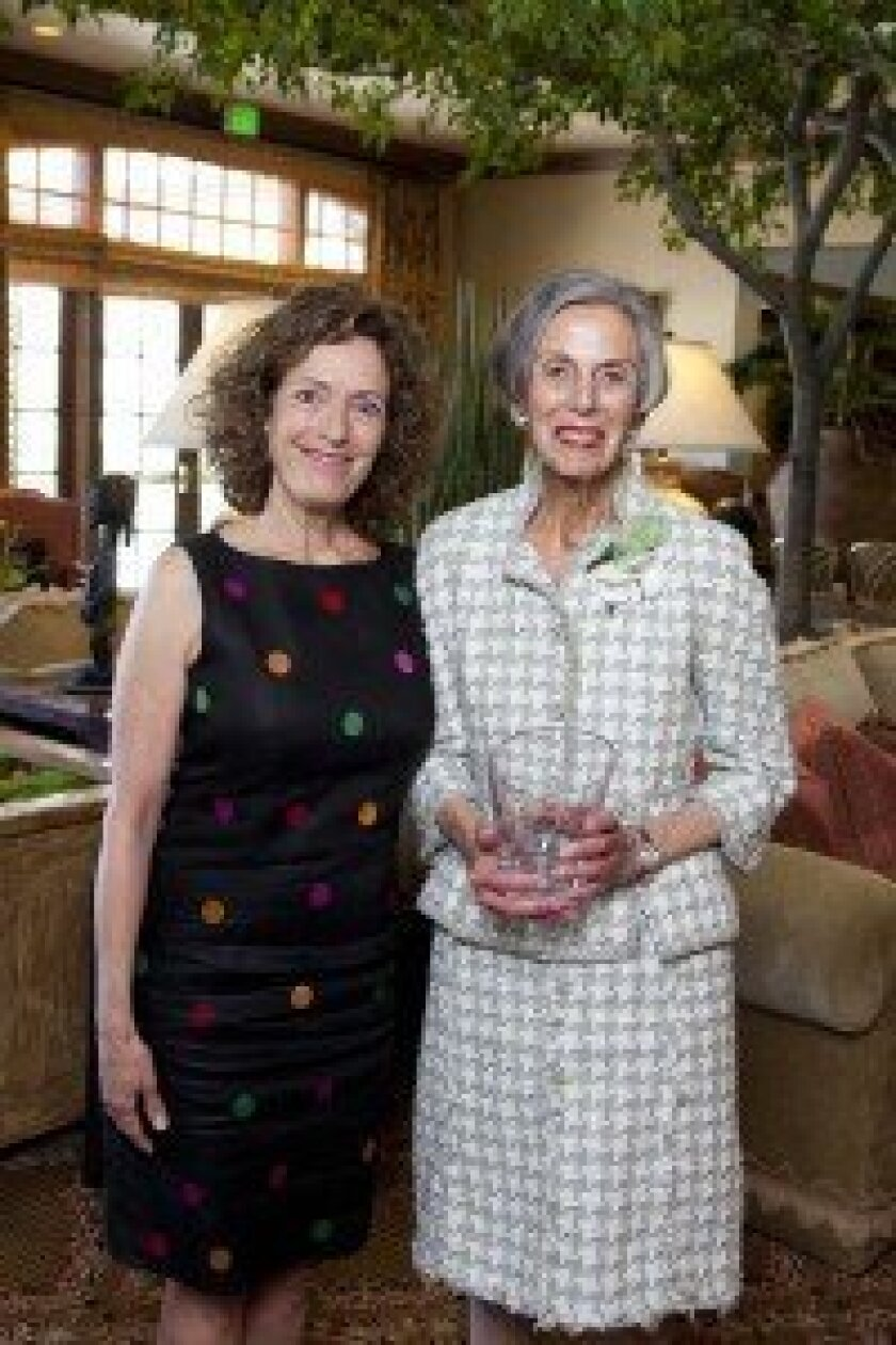 Rancho Santa Fe resident Pauline Foster (right, with 2002 Cool Woman Linda Katz) was honored at the San Diego's 10 Cool Women of 2013 luncheon, held by Girl Scouts San Diego.
