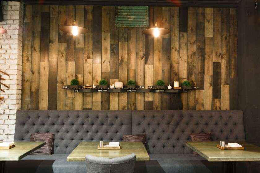 Vintage wooden loft interior of restaurant