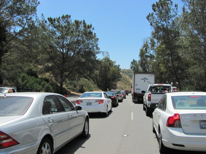 Trafiic delays of up to an hour greeted Torrey Pines motorists on Wednesday.