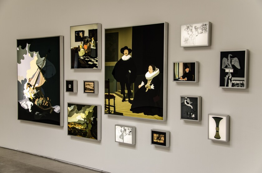 "Kota Ezawa, installation view, ""Gardner Museum Revisited,"" Christopher Grimes Gallery in Santa Monica."