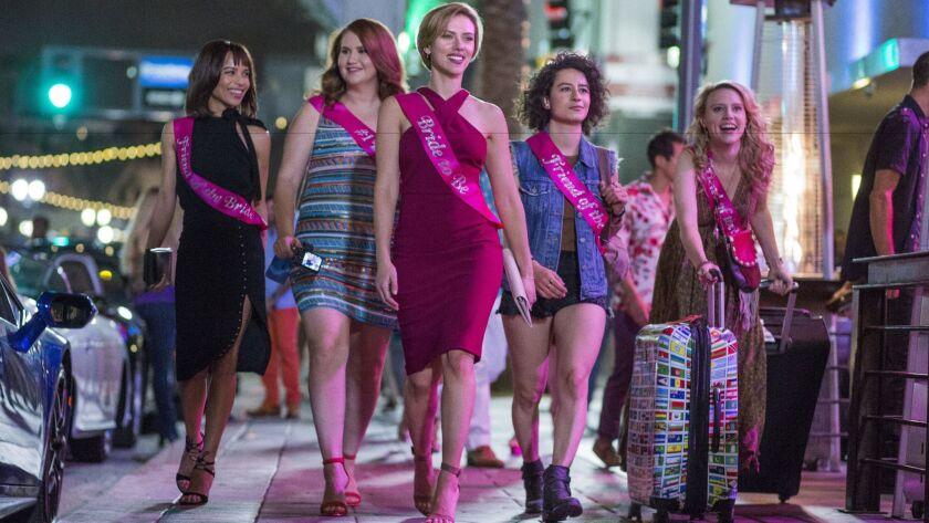Blair (Zoe Kravitz), left, Alice (Jillian Bell), Jess (Scarlett Johansson), Frankie (Ilana Grazer) a