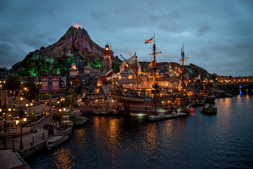 Tokyo DisneySea's Mediterranean Harbor has a fortress and galleon set against the volcanic rumblings of Mt. Prometheus and the Jules Verne-themed Mysterious Island.