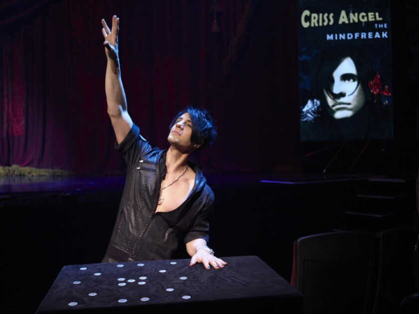 Criss Angel performs during MINDFREAK! Live in Las Vegas.