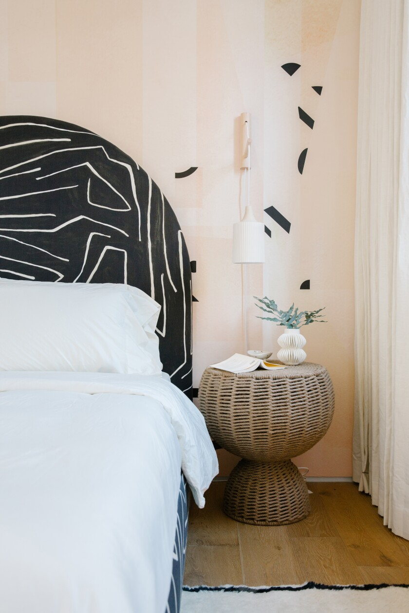 Drop It Modern's Shape Shifter wallpaper in a West Side L.A. guest bedroom by Sarah Sherman Samuel.