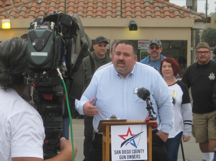 Supporters of the gun show held a news conference Dec. 14.