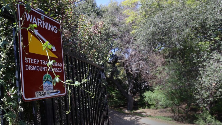 LA CANADA FLINTRIDGE FEBRUARY 28, 2018: The start of the Descanso Trail has a warning about a steep