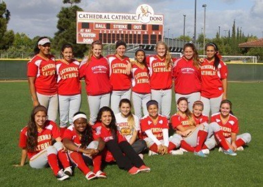 The championship Cathedral Catholic High School girls' varsity softball team.
