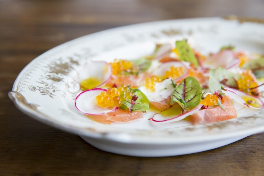Ora salmon crudo with Meyer lemon, creme fraiche, basil flowers and smoke trout roe at Terzo MdR