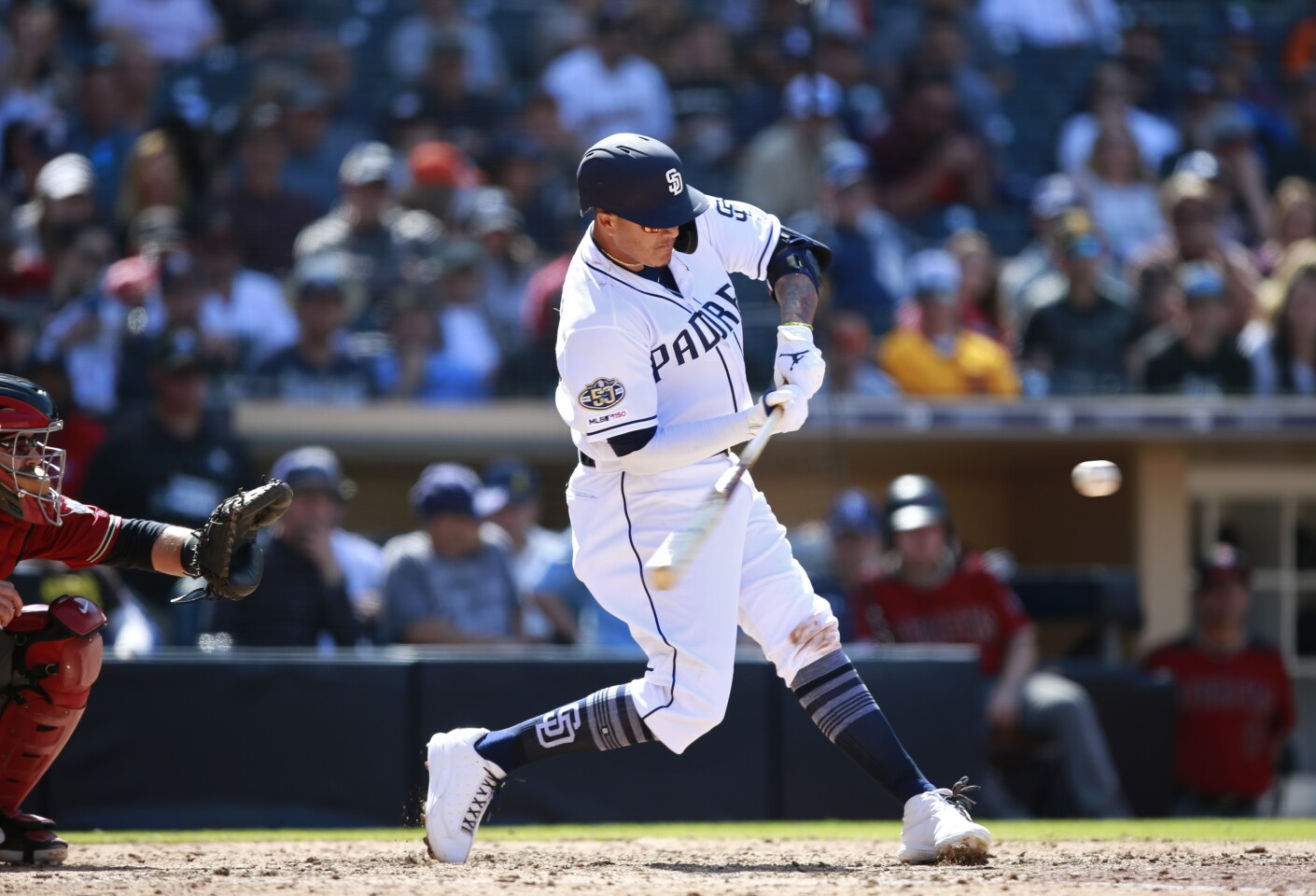 San Diego Padres Manny Machado hit a two-run home run in the 7th inning against the Arizona Diamondbacks at Petco Park in San Diego on April 3, 2019. (Photo by K.C. Alfred/The San Diego Union-Tribune)