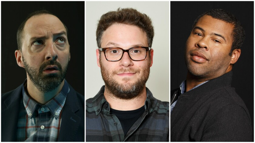 Tony Hale, left, Seth Rogen and Jordan Peele are among the actors who performed short plays written by fifth-graders.