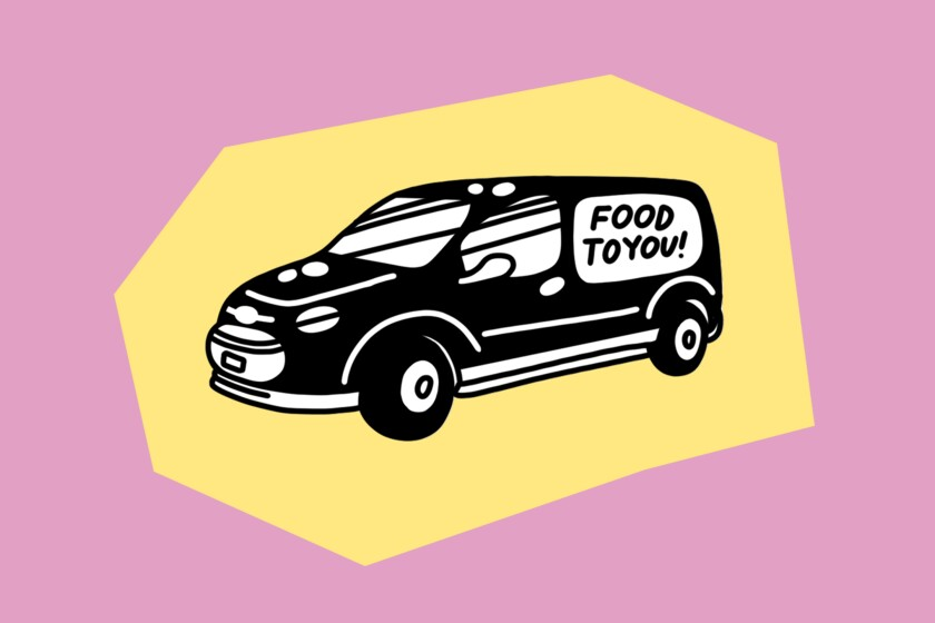 "Illustration of a van that reads ""food to you!"" on its side."