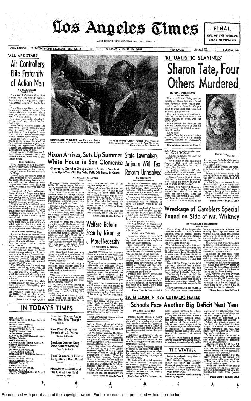 The front page of the Los Angeles Times on Aug. 10, 1969