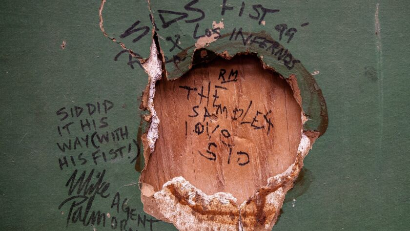 A section of drywall with a hole punched out by Sid Vicious of The Sex Pistols during their 1978 Nor