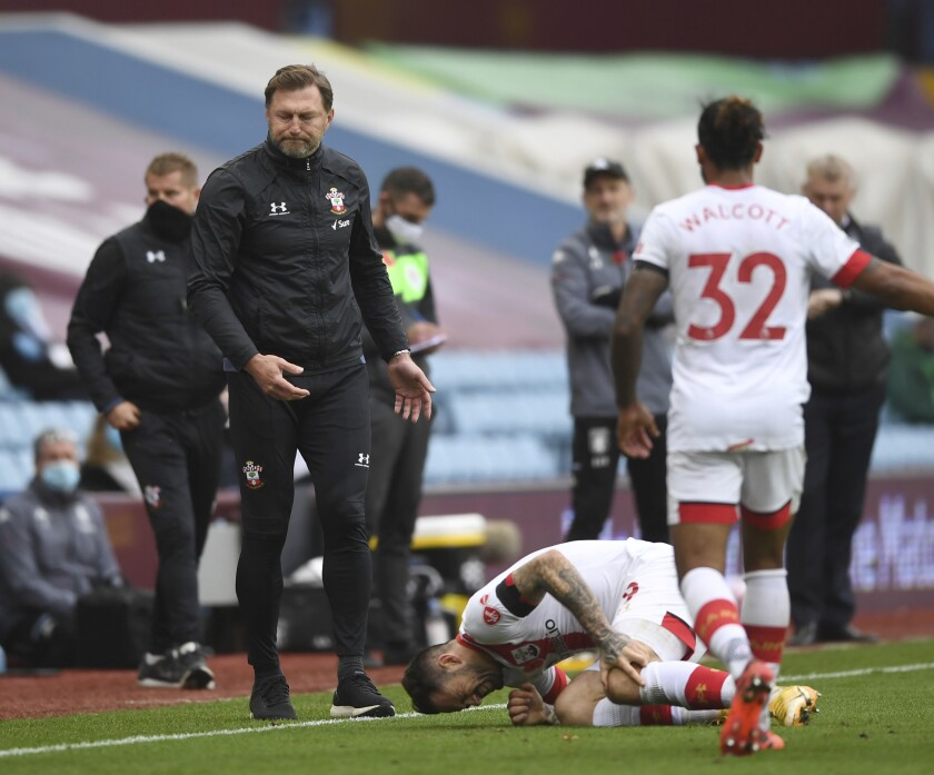FILE - In this Sunday, Nov. 1, 2020 file photo, Southampton's manager Ralph Hasenhuettl reacts as his player Southampton's Danny Ings is injured during the English Premier League soccer match between Aston Villa and Southampton at Villa Park in Birmingham, England. Ings will undergo knee surgery which will result in him being sidelined for at least one month, the Premier League club said Wednesday, Nov. 4, 2020. (Gareth Copley/Pool via AP, File)