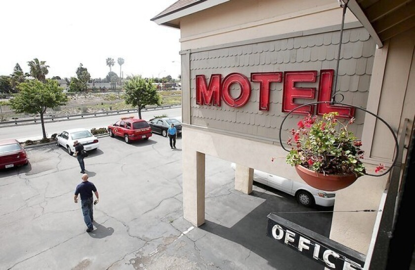 The Sandpiper Motel sits next to Newport Boulevard and the 55 Freeway in Costa Mesa.