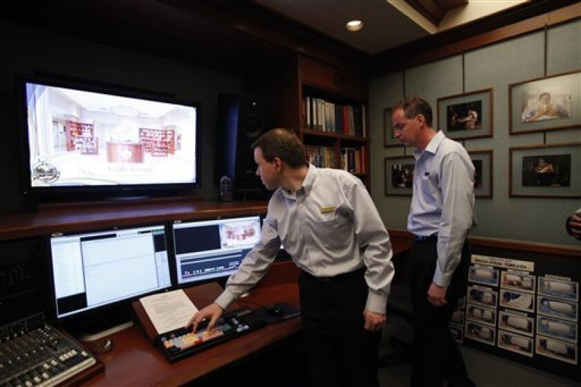 In this March, 12, 2010 photo, The Church of Scientology's Golden Era Productions film editing suite is seen at the facility in San Jacinto, Calif. The complex is the main video and multimedia production facility and home to about 400 so-called Sea Organization members. (AP Photo/Damian Dovarganes)