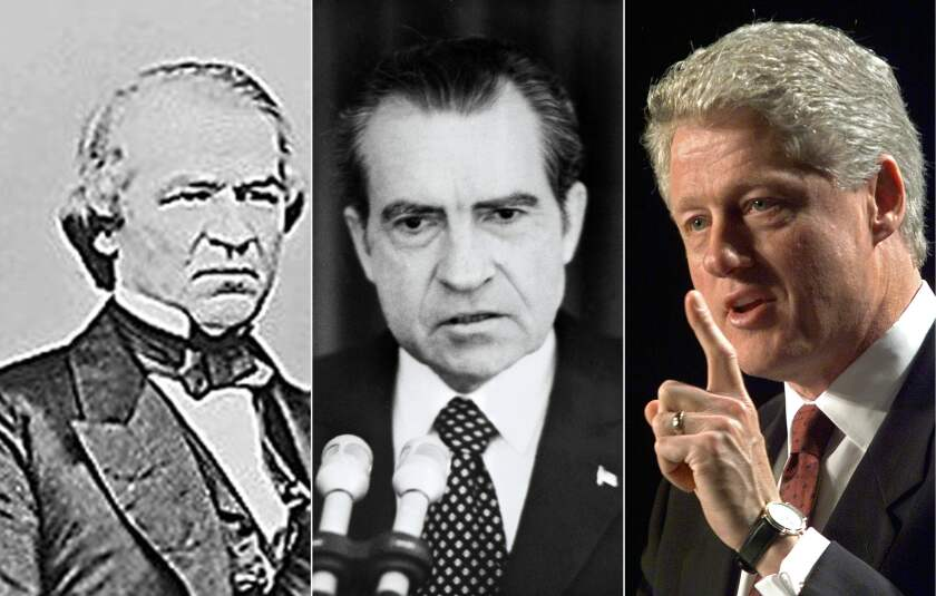 Andrew Johnson, Richard Nixon and Bill Clinton