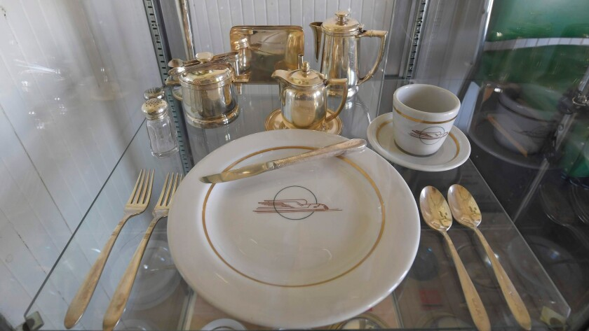 A vintage Union Pacific dinner service is on display at the Clark County Museum Thursday, June 28, 2