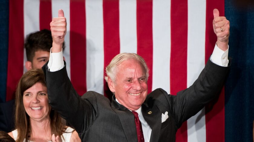 South Carolina Gov. Henry McMaster greets supporters June 26, when he won the gubernatorial primary.
