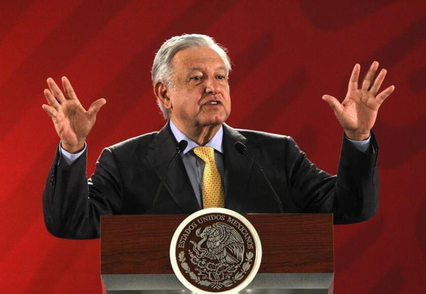 Mexican President Andres Manuel Lopez Obrador takes part in a press conference on March 8, 2019, at the National Palace in Mexico City. EPA-EFE/ Mario Guzman