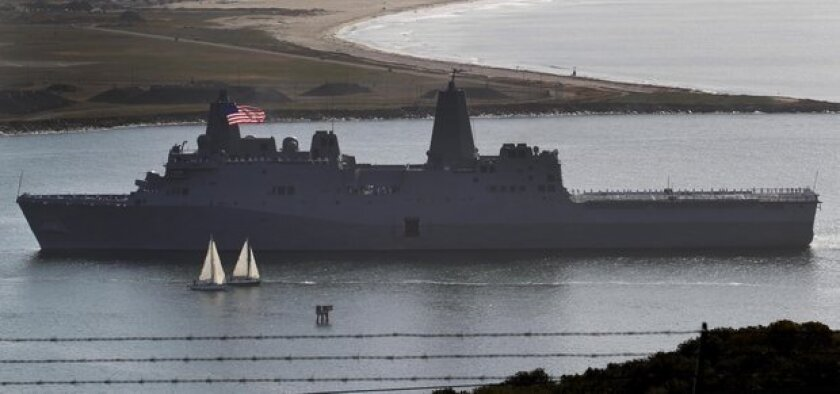 The amphibious ship San Diego arrived at its new home port of San Diego Friday.