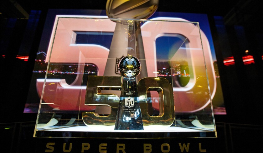 Detailed view of the Vince Lombardi Trophy during the NFL Experience exhibition before Super Bowl 50 at the Moscone Center on Wednesday in San Francisco.