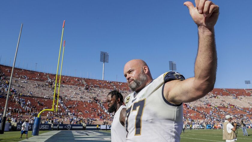 LOS ANGELES, CA, SUNDAY, SEPTEMBER 23, 2018 - Rams tackle Andrew Whitworth gestures to fans after a