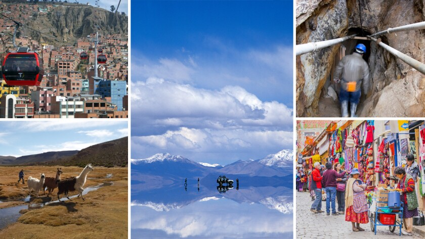 The sights in Bolivia include the colorful gondolas and markets of La Paz, top left and bottom right; the wildlife and salt flat of Salar de Uyuni,bottom left and center; and Potosi's silver-laden mine, Cerro rico, top right.