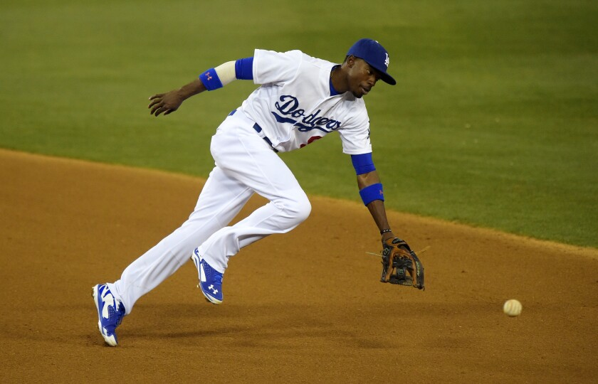 Dodgers second baseman Dee Gordon goes after the ball during a game against the Miami Marlins on May 12.