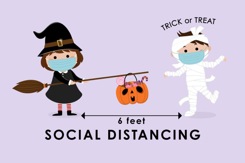 witch and mummy social distancing trick or treaters