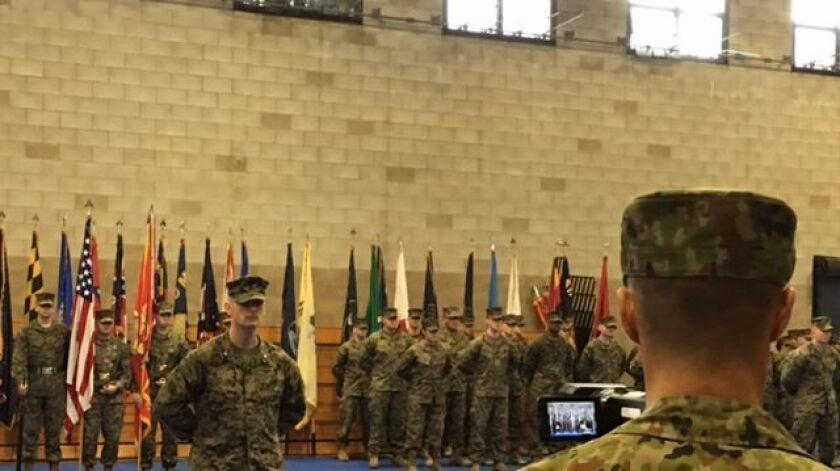 Detachments from both the Marine Corps and the Japan Ground Self-Defense Force were on hand at Monday's ceremony kicking off the 12th annual Iron Fist bilateral exercises at Camp Pendleton.