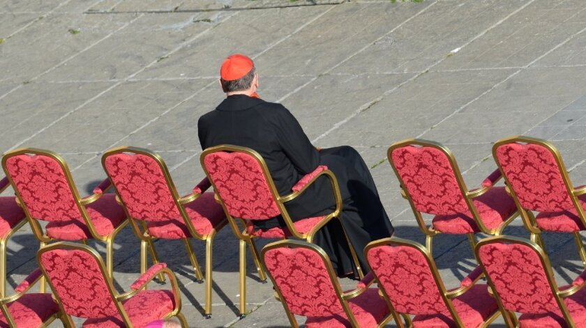 Cardinal Roger Mahony sits in St. Peter's Square last February ahead of Pope Benedict XVI's last weekly audience.