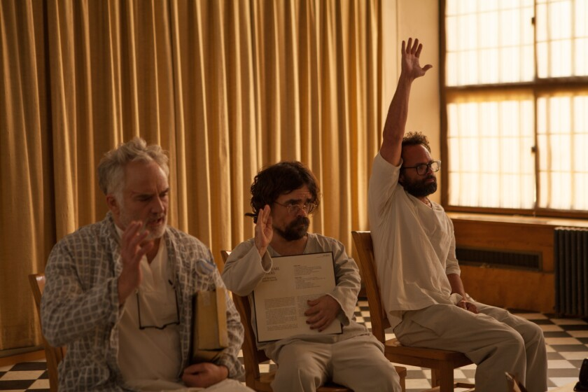 Bradley Whitford, Peter Dinklage and Walton Goggins in the movie 'Three Christs'