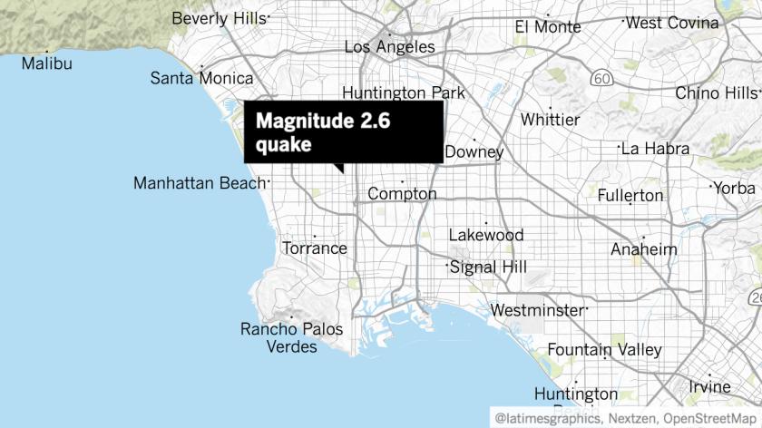 Magnitude 2.6 earthquake hits Gardena, sends weak shaking across L.A. Basin