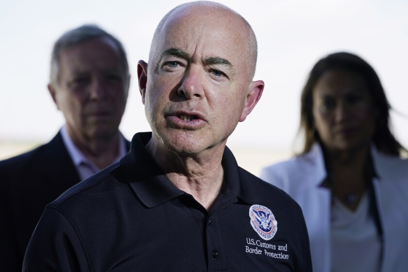 FILE - In this June 25, 2021 file photo, Homeland Security Secretary Alejandro Mayorkas talks to the media after he and Vice President Kamala Harris toured of the U.S. Customs and Border Protection Central Processing Center in El Paso, Texas. Senior members of President Joe Biden's administration are in Mexico Tuesday for talks on addressing illegal migration to the U.S., according to the White House. National security adviser Jake Sullivan, Homeland Security secretary Ali Mayorkas are leading the delegation to meet with senior Mexican government officials about working jointly to slow crossings along the U.S. southern border. (AP Photo/Jacquelyn Martin)
