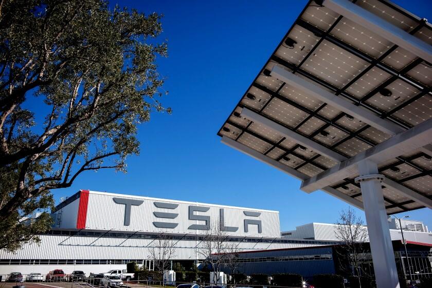 Tesla's car factory in Fremont, Calif.