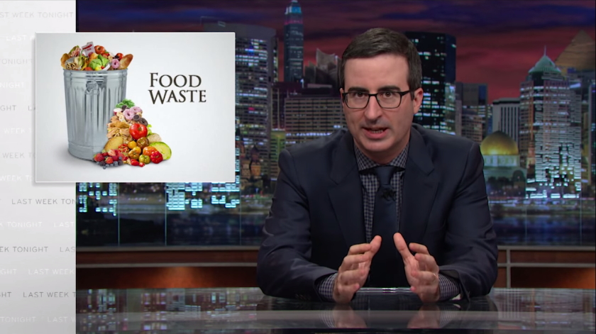 "John Oliver spent 17 minutes discussing food waste on Sunday's episode of ""Last Week Tonight."""