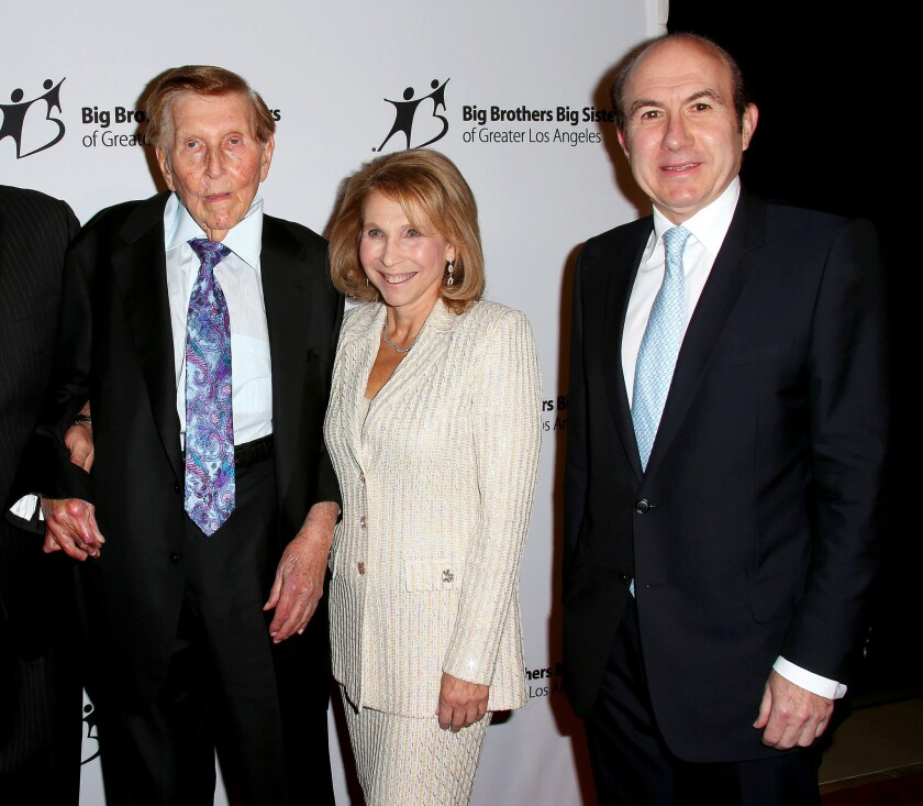 Sumner Redstone, Shari Redstone and Philippe Dauman