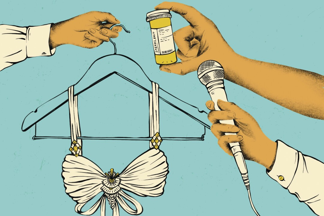 Illustration of hands holding up stage clothes, medication and microphone