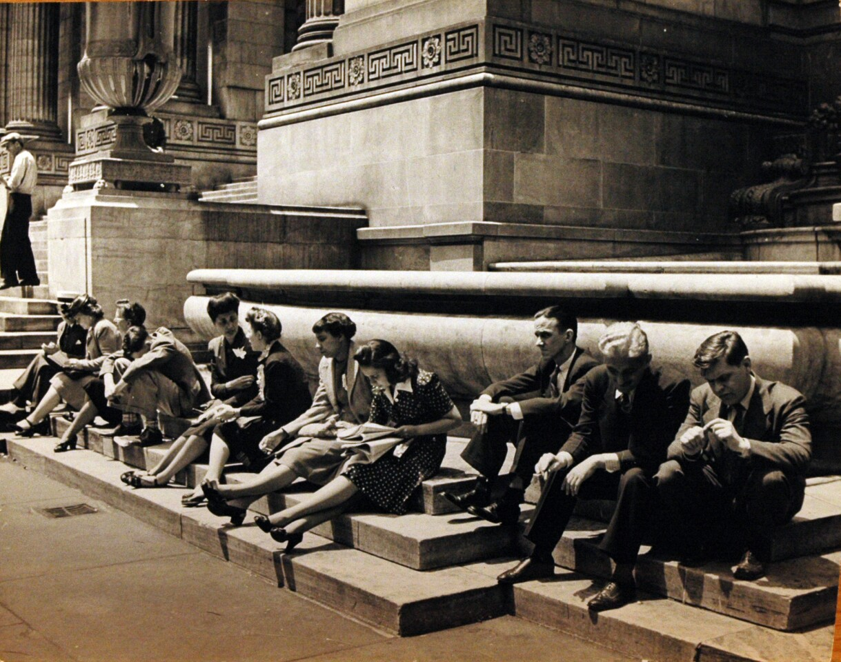 "Alfred Eisenstaedt, ""People on Steps of New York Public Library."" 1944. Gelatin sliver print."