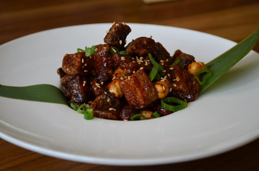 Caramelized eggplant is a great starter at Blue Ocean.