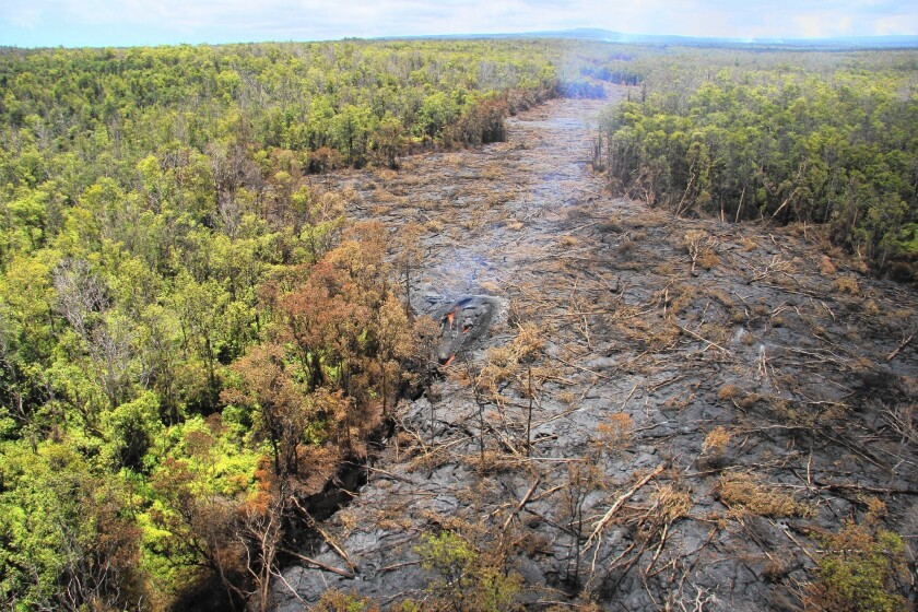 The June 27 lava flow, named for the date it began erupting from a new vent, streams from Kilauea on Hawaii's Big Island, moving at more than 800 feet per day.